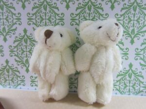 "6 Little Furry Teddy Bear 3.5"" Miniature Craft Doll/Baby Shower Favor H121-White"