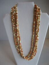 Vintage Women's Fashion Tan/Ivory/Peach Multi Strand Necklace Pre-Owned