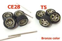 1:64 rubber tires CE28 T5 bronze rims fit Hot Wheels custom diecast - 2 sets