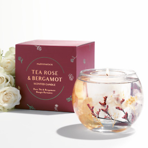 NUTRIMETICS Tea Rose & Bergamot Scented Candle - RRP $50 - New In Box