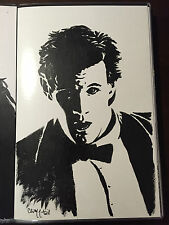 11TH DOCTOR WHO MATT SMITH Painting Portrait Original Art by Chris McJunkin