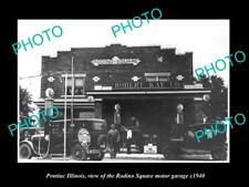 OLD POSTCARD SIZE PHOTO OF PONTIAC ILLINOIS, THE RADINO SQUARE GAS STATION 1940
