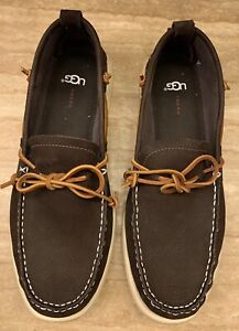 UGG AUSTRALIA Men's Brown Nubuck Leather Slip-on Shoes,Size US 11,5 / EU 44,5