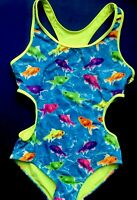 NEw JUSTICE GIRLS Gold Fish Blue Swimwear ONE PIECE SWIMSUIT Size 5 Bathing Suit