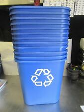 A63 LOT OF 12 DESK SIDE RECYCLING CONTAINERS  OFFICE 7 GAL BLUE RUBBERMAID 2956