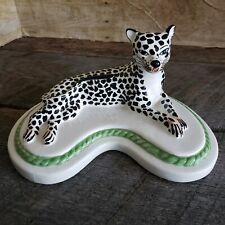 Leopard Cheetah Ceramic Figure Mottahedeh Italy Vintage Italian Pottery Figurine
