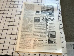 vintage original 1930 removed ad: The MILWAUKEE Road - romantic northwest