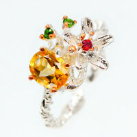 Natural 8x6 Citrine 925 Sterling Silver Ring Thai silver flower design RVS111