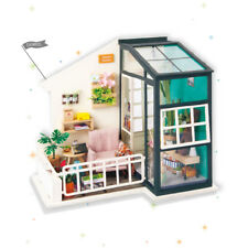 ROBOTIME DIY Wooden Doll House Miniatures LED Furniture Kit Light With Balcony