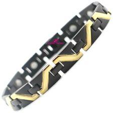 Noir Et Or bracelet Magnétique UNISEXE santé guérison énergie bracelet