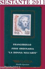 TESSERA FILATELICA FRANCOBOLLO SERIE ORDINARIA DONNA ARTE 1999  B5