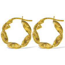 375 9CT GOLD ROUND 18MM SATIN RIBBON TWIST TUBE HOOP CREOLE SLEEPERS EARRINGS