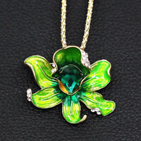 Women's Fashion Enamel Crystal Flower Pendant Betsey Johnson Necklace/Brooch Pin