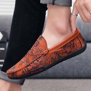 Mens Casual Round Toe Loafers Flats Outdoor Driving Moccasins Shoes Breathable