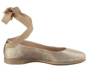 Ecco ladies Incise Enchant leather flats Ballet Ankle Strap Moon rock Uk 6.5 - 7
