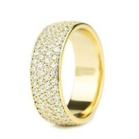 1.76 Ct Eternity 4-Row Diamond Wedding Engagement Band 14K Yellow Gold Over