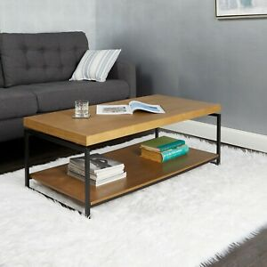 Natural Wood Finish Coffee Table W/ Shelf Durable Home Living Room Furniture
