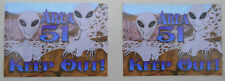 Area 51 Keep Out UFO Space Alien  2 Stickers Kids Room Door Laptop CLOSEOUT NEW