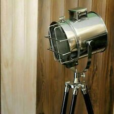 Nautical Search Light Lamp Vintage Search Tripod Wooden Stand Home Decor Design