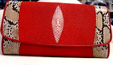 GENUINE PYTHON SNAKE RED STING RAY LEATHER SKIN LADIES TRIFOLD CLUTCH NEW WALLET