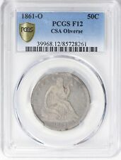 1861-O Seated Liberty HALF DOLLAR >CSA Obverse< PCGS F12 >FAST FREE SHIPPING!!!