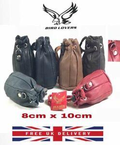 LEATHER DRAWSTRING WRIST POUCH BUSH CRAFT COINS KEYS BAG PURSE TAXI 8CM X 10CM