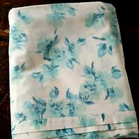 Vintage Full Flat Sheet White Blue Floral ~ Perma Press Percale ~ Sears