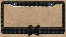 Black Frame Black Bow Rhinestone License Plate Frame, Girl Car accessory