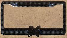 Black Frame Black Bow Rhinestone License Plate Frame, Girl Car accessory