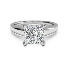 2.00 Ct Princess Diamond Engagement Ring Real 14K White Solid Gold Rings Size M