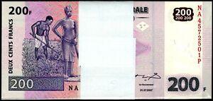2007 Congo 200 Francs Uncirculated Bundle 100 Notes