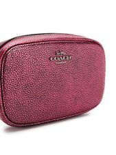 NWT COACH Metallic Belt Bag in Pebble Leather Berry/Silver