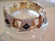 Swarovski Swan Signed Gold Tone Blue Clear Crystal Vintage Bracelet Bangle  416