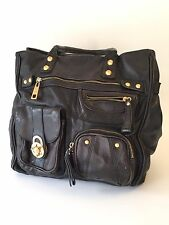 Vintage STEVE MADDEN Black Leather Shoulder Bag Tote Purse Large