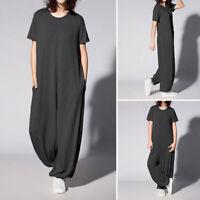 Mode Femme Combinaison Manche Courte Couleur Unie Col Rond Pantalon Longue Plus