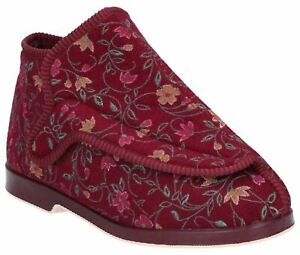 GBS Rhona Wine Touch Fastening Ladies Bootees Textile