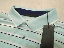 Greyson Golf Performance Fabric Pale Blue Stripe Polo Golf Shirt NWT XL $95