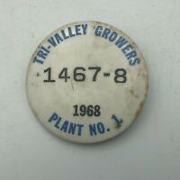 1968 Tri-Valley Growers California Canning Employee ID Badge Pin Vintage Rare S7