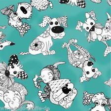 LORALIE Dog Happy Türkis Patchworkstoffe Stoffe Hunde Patchwork Baumwollstoffe
