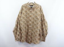 Vintage 90s Woolrich Mens 2XL XXL All Over Deer Buck Print Long Sleeve Shirt Tan