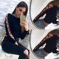 Fashion Women's Bandage Long Sleeve Shirt Casual Blouse Slim Crop Tops T Shirt