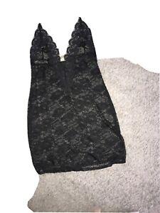 Ann Summers Black Lace Short Halterneck Chemise with Diamanté Size L 16/18 Sexy