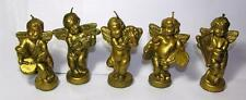 """5 Vtg 1960'S Xmas Cherub Angel Figure Candles, Gold Painted All Different 3 3/4"""""""