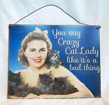 Retro Style Enamel Sign / Plaque - Crazy Cat Lady -  BNWT