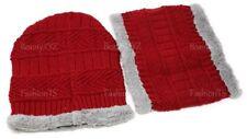 Women Men Winter Beanie Hat w/ Neck Warmer Gift Set Cold Weather Fur Lined