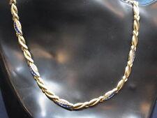 585er Goldkette nit Saphir und Zirkon Lang 46,5 cm Breit 5,88mm Ge 22,44 gramm
