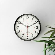 Metal Wall Clock Retro Large Round Home Office Bedroom Kitchen Work - Black