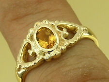 R144- Lovely Genuine 9K 9ct Solid Yellow Gold Natural Citrine Hearts Love Ring