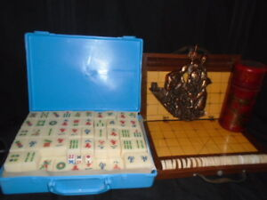 MAH JONG & VINTAGE XIANGQI  BAMBOO CHESS SET & FORTUNE STICKS   & DOMINOES