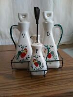 Antique salt, pepper shakers ,Vinegar & Oil Decanters in metal Caddy mid...